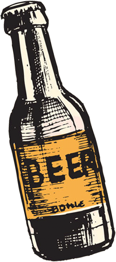 Hand Drawn Beer Bottle from craftboro brewing, a family friendly carrboro brewery