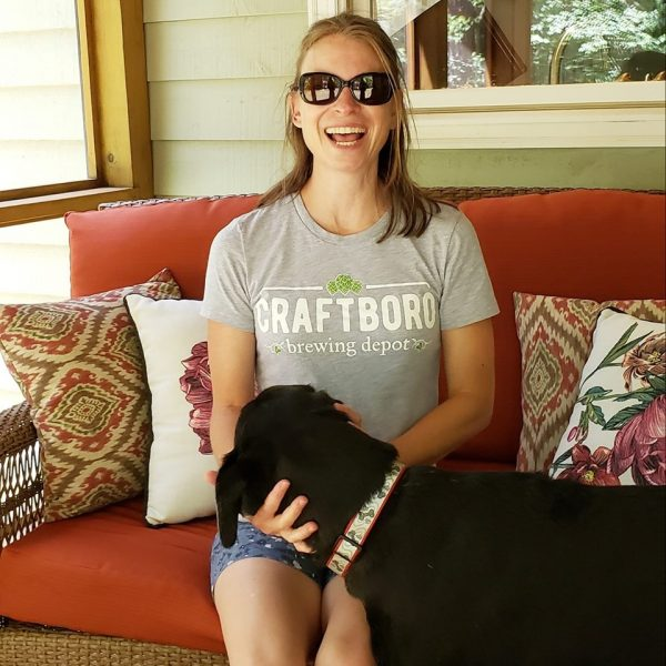 amy in craftboro shirt, a family friendly carrboro brewery